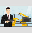 a manager with a digital tablet smart factory vector image