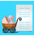 Baby in wicker stroller and postcard for your text vector image