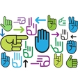 Background of various hand signs vector image vector image