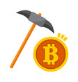 bitcoin mining pickaxe graphic vector image