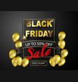 black friday sale banner gold balloons background vector image vector image