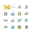 boats - colorful thin line design icons set vector image vector image