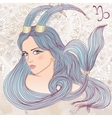 Capricorn as a portrait of beautiful girl vector image vector image