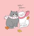 cartoon cute autumn lover cats vector image vector image