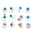 cartoon cute funny eye ball emoticon character vector image vector image