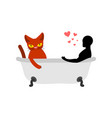 cat lover in bath my kitty passion feelings among vector image vector image