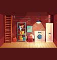 cellar interior cartoon laundry in vector image vector image