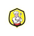 Chef Cook Holding Spatula Shield Cartoon vector image vector image