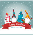 christmas card with funny gnomes and snowman vector image vector image