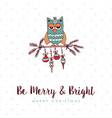 christmas decoration bauble cute owl cartoon card vector image