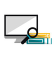 computer and magnifying glass with books vector image vector image