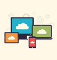 Concept of cloud service and mobile devices trendy vector image vector image