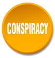conspiracy orange round flat isolated push button vector image vector image