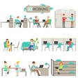 Coworking In Modern Design Office Infographic vector image vector image