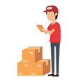 delivery worker with boxes and checklist vector image vector image