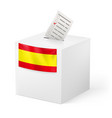election in spain ballot box with voicing paper vector image vector image