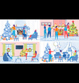 family relatives or friends christmas fun set vector image vector image