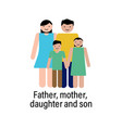 father mother daughter and son icon can be used vector image vector image