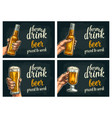 female and male hands holding beer bottles and vector image vector image