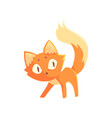 funny curious red kitten cute cartoon animal vector image vector image