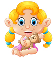 girl holding bear doll vector image vector image