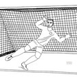goalkeeper jumping to catch the soccer ball vector image vector image
