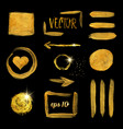 gold paint brush stroke and stain set vector image vector image