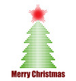 halftone xmas tree with star vector image vector image