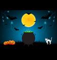 halloween witch cauldron pumpkin cat vector image vector image