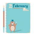 happy groundhog day notebook background with vector image vector image