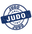 judo blue grunge round vintage rubber stamp vector image vector image