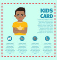 kids card template with black kid vector image
