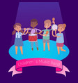 kids music band playing and rocking at spot light vector image vector image