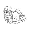 little girl with tea bag kawaii character vector image