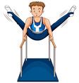 Man doing gymnastics on parellel bars vector image vector image