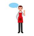 man wearing apron chef specch bubble vector image