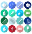 medical icons white long shadow vector image vector image