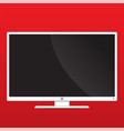 mock up monitor on red background with copy space vector image vector image
