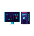 monitor computer with data center vector image vector image