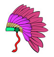 native american feather headdress icon cartoon vector image vector image