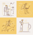 office life - set of line design style vector image vector image