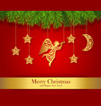 red christmas greeting card decorated with gold vector image