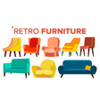 retro furniture vintage 1950s 1960s vector image