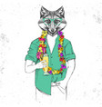 retro hipster animal fox with tropic cocktail vector image vector image