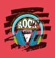 rock music club music badge emblem with vector image vector image