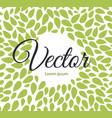 seamless leaves pattern label with text on floral vector image vector image