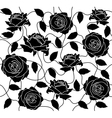 Seamless of a black roses and leafs vector image