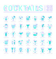 set line icons cocktails vector image vector image