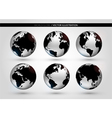 Set with metallic world globe vector image