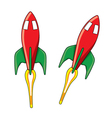 Shiny red rocket with fire flame vector image
